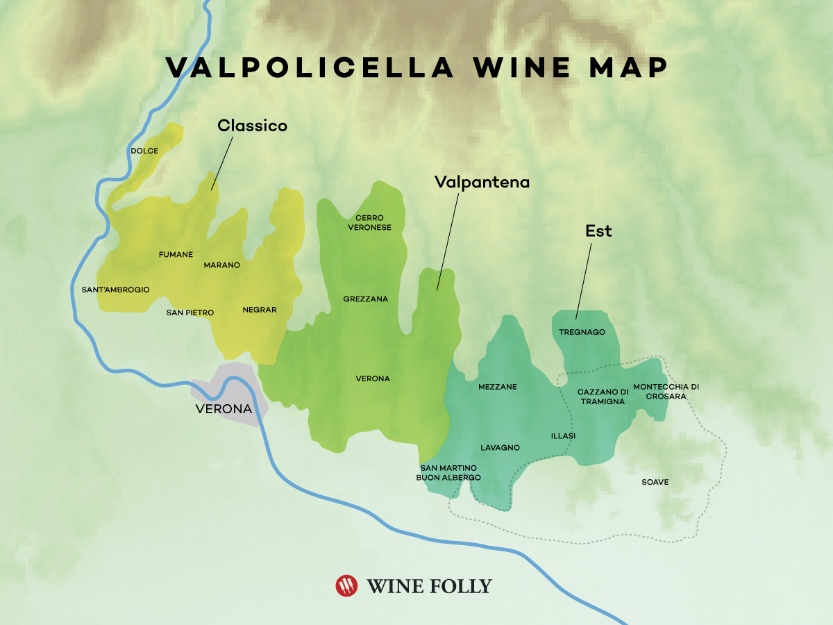 Amarone della Valpolicella Wine Region map by Wine Folly