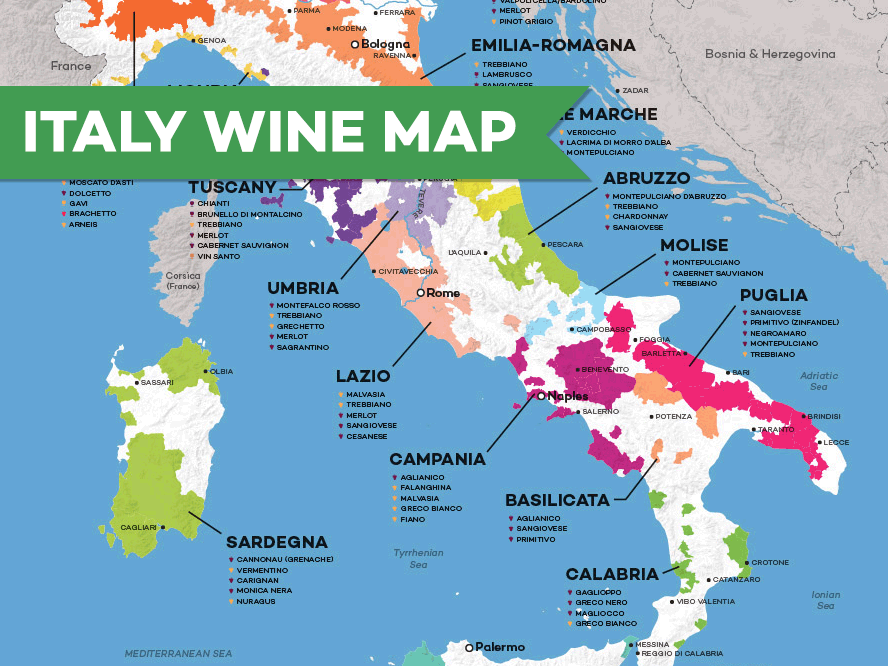 Map of Italian Wine Regions | Wine Folly Map Of on early world maps, contour line, geographic coordinate system, satellite imagery, map projection, aerial photography, global map, geographic information system,