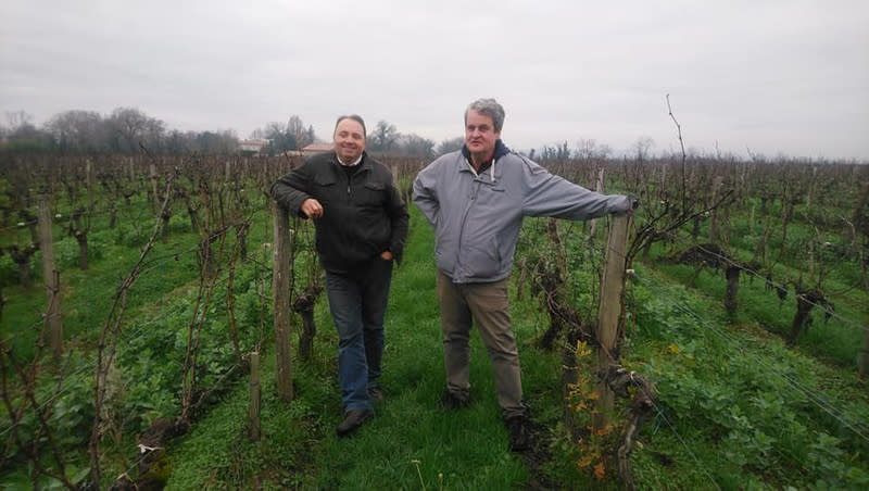 Jean-Baptiste Duquesne (left) and grower, David Poutays (right) in their Graves-area vineyard.