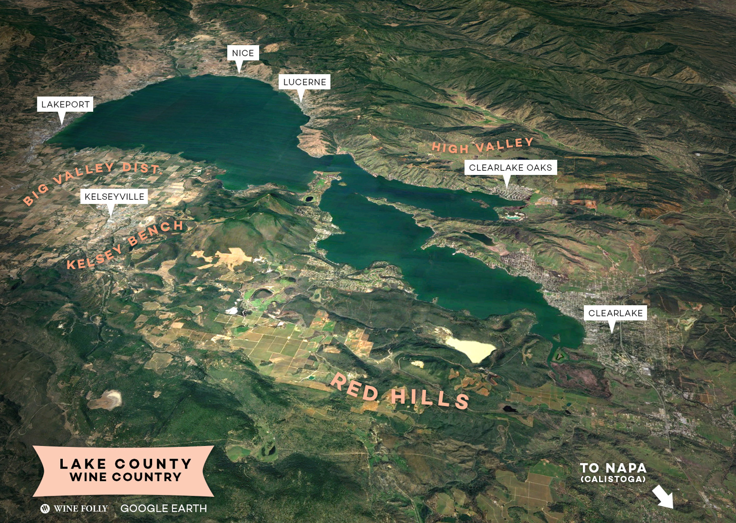 Lake County, CA Wine Country Map by Wine Folly