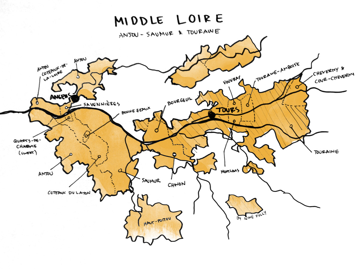 Middle Loire Valley Wine Map by Wine Folly