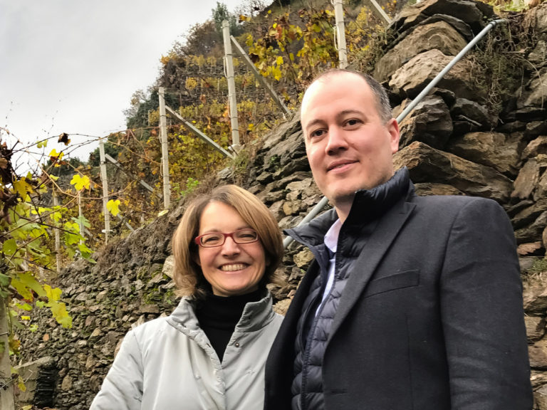luke wohlers and isabella-pelizzatti perego in the Grumello portion of Valtellina above the Ar.Pe.Pe cellars