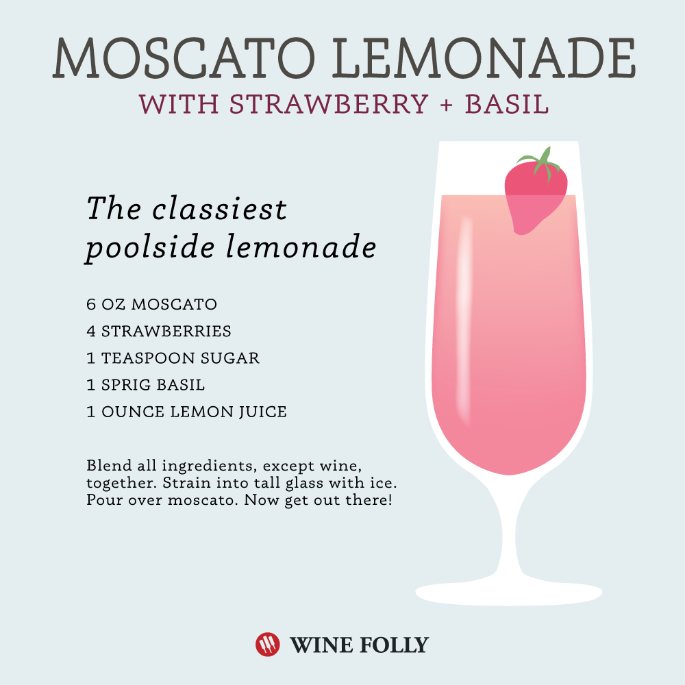 Moscato Strawberry Lemonade w/ optional basil by Wine Folly