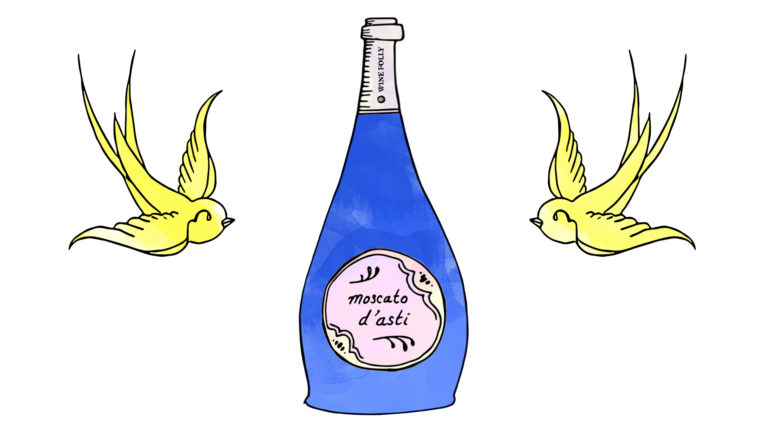 Moscato d'Asti Blue bottle illustration with Sparrow Tattoo by Wine Folly
