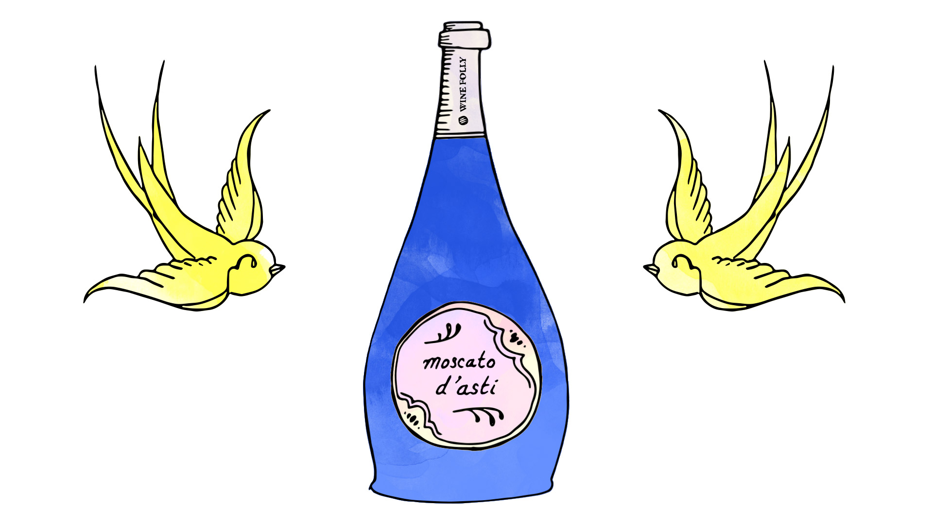 Moscato d'Asti Blue Bottle Illustration with Sparrow Tattoo by Wine Folly.