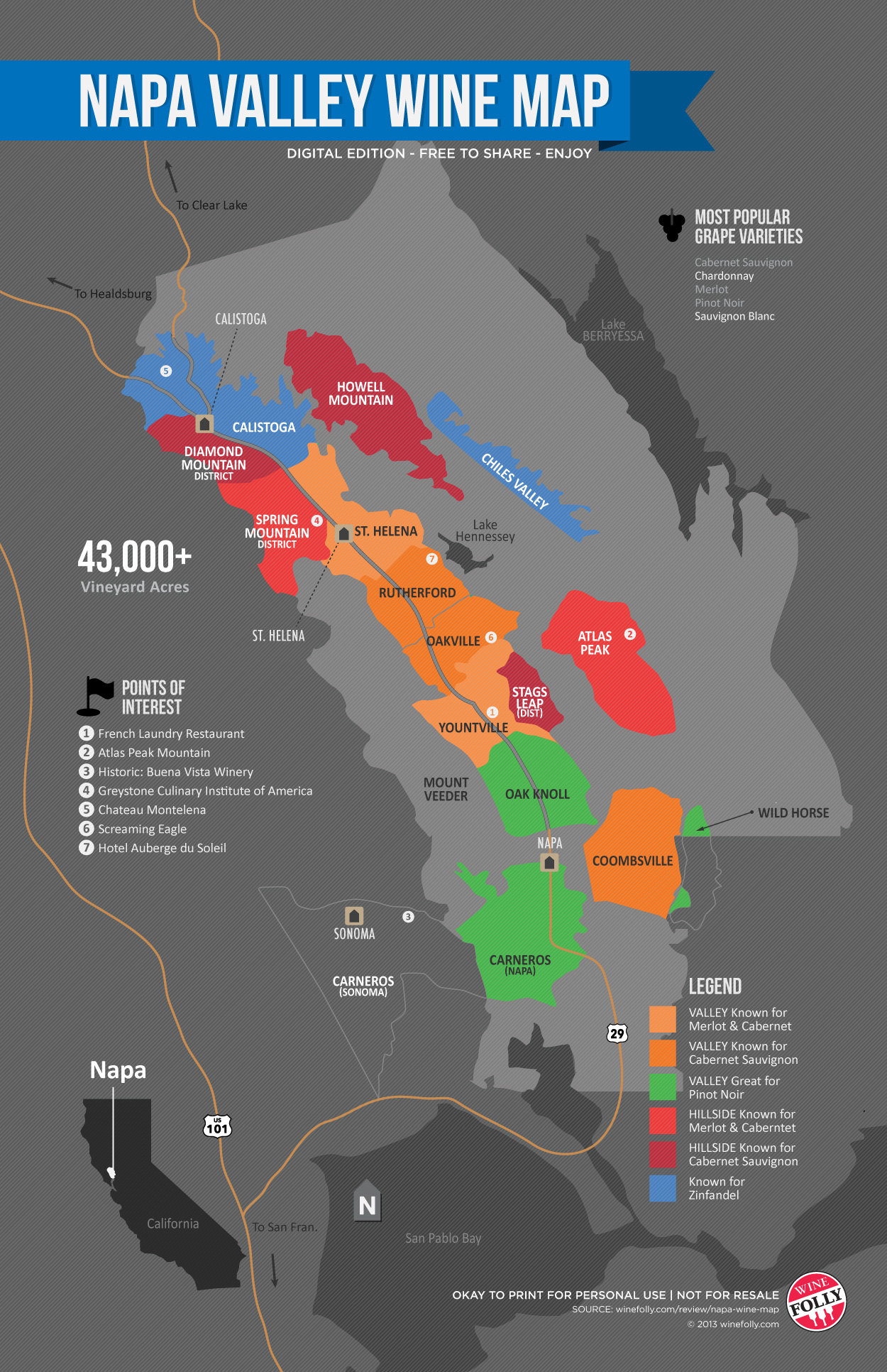 Napa Wine Map by Wine Folly