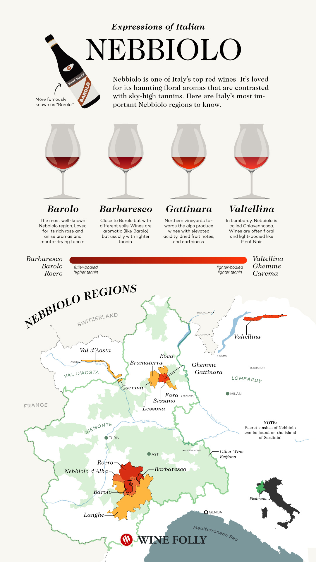 Nebbiolo Wine Regions names including Barolo and Barbaresco wine map by Wine Folly