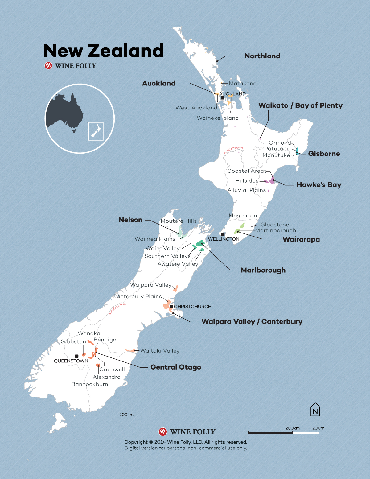 New Zealand Wine Map 2015 by Wine Folly
