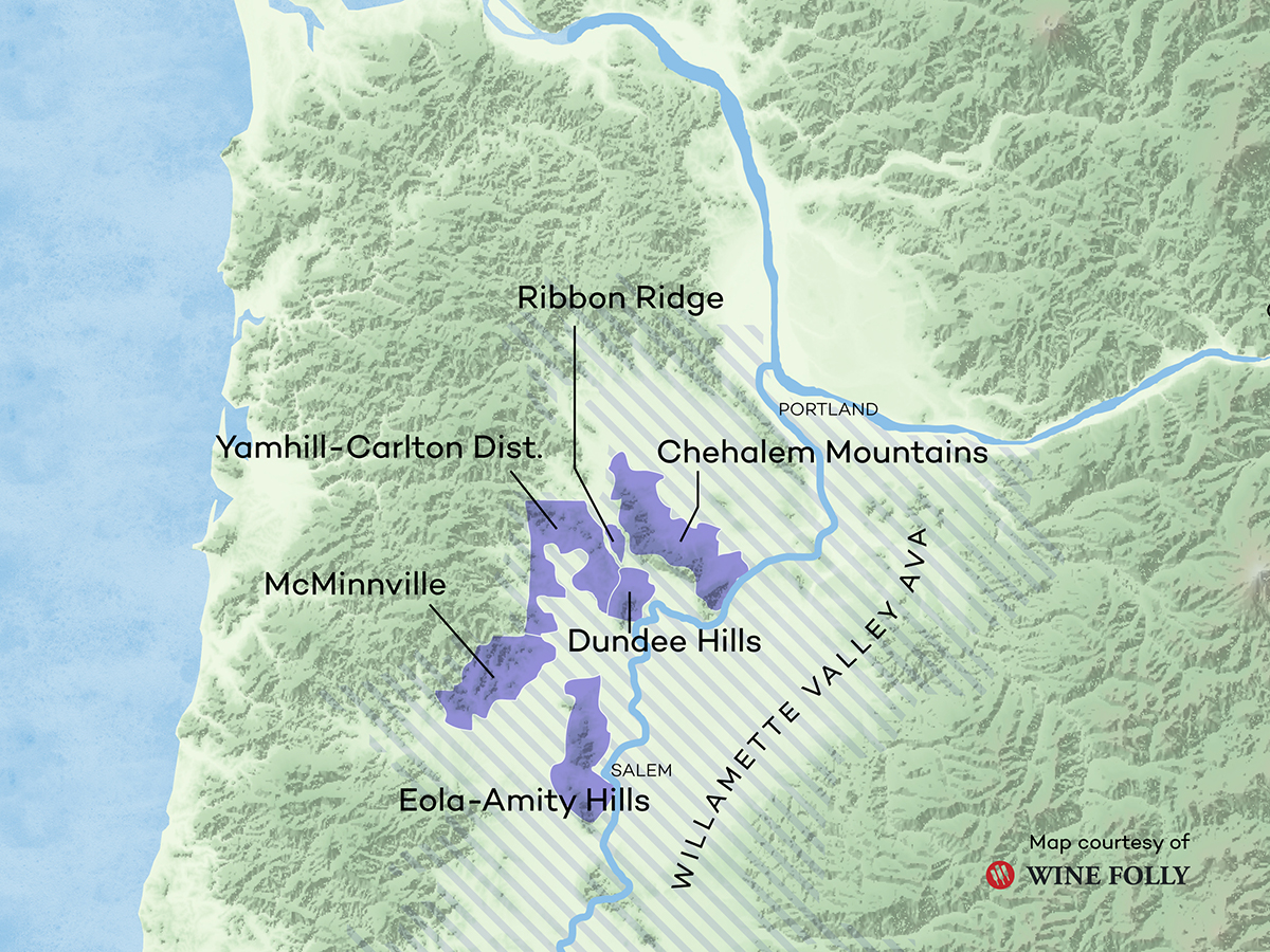 Oregon Wine AVAs for Pinot Noir Map of the Willamette Valley by Wine Folly