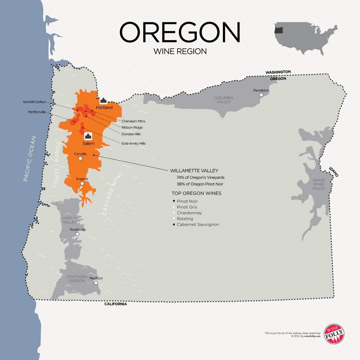 Oregon Wine Country Map large