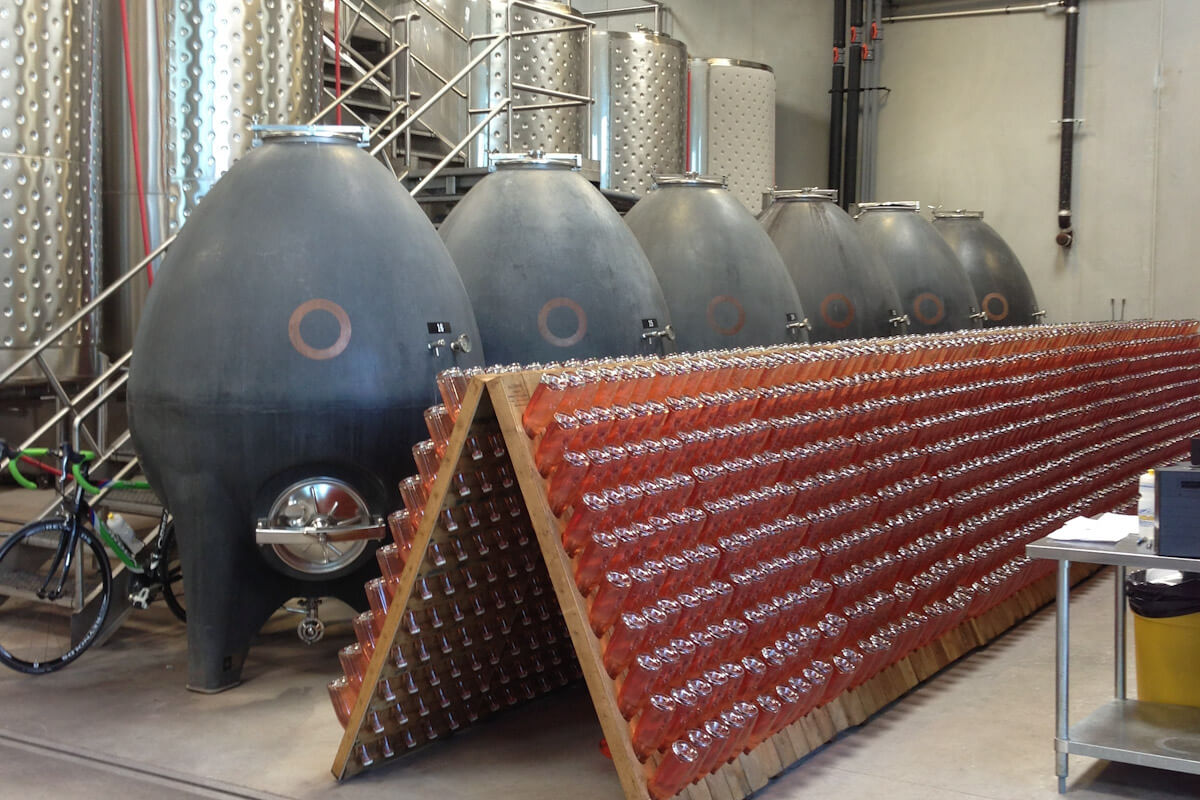 Egg shaped fermenters at the Okanagan Crush Pad winery in British Columbia.