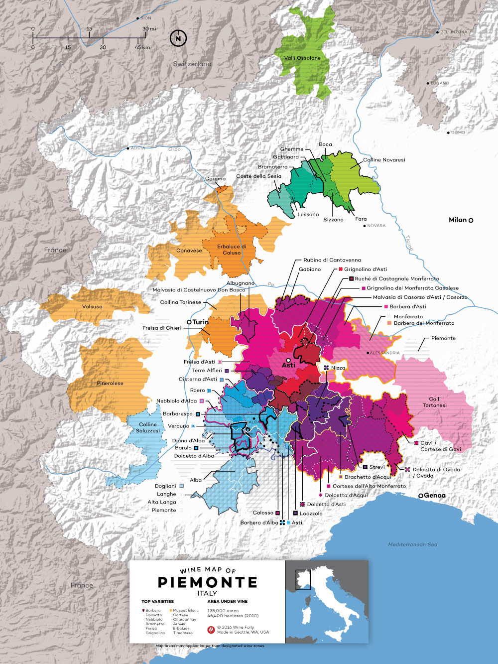 Piedmont Italy Wine Map by Wine Folly 2016 Edition