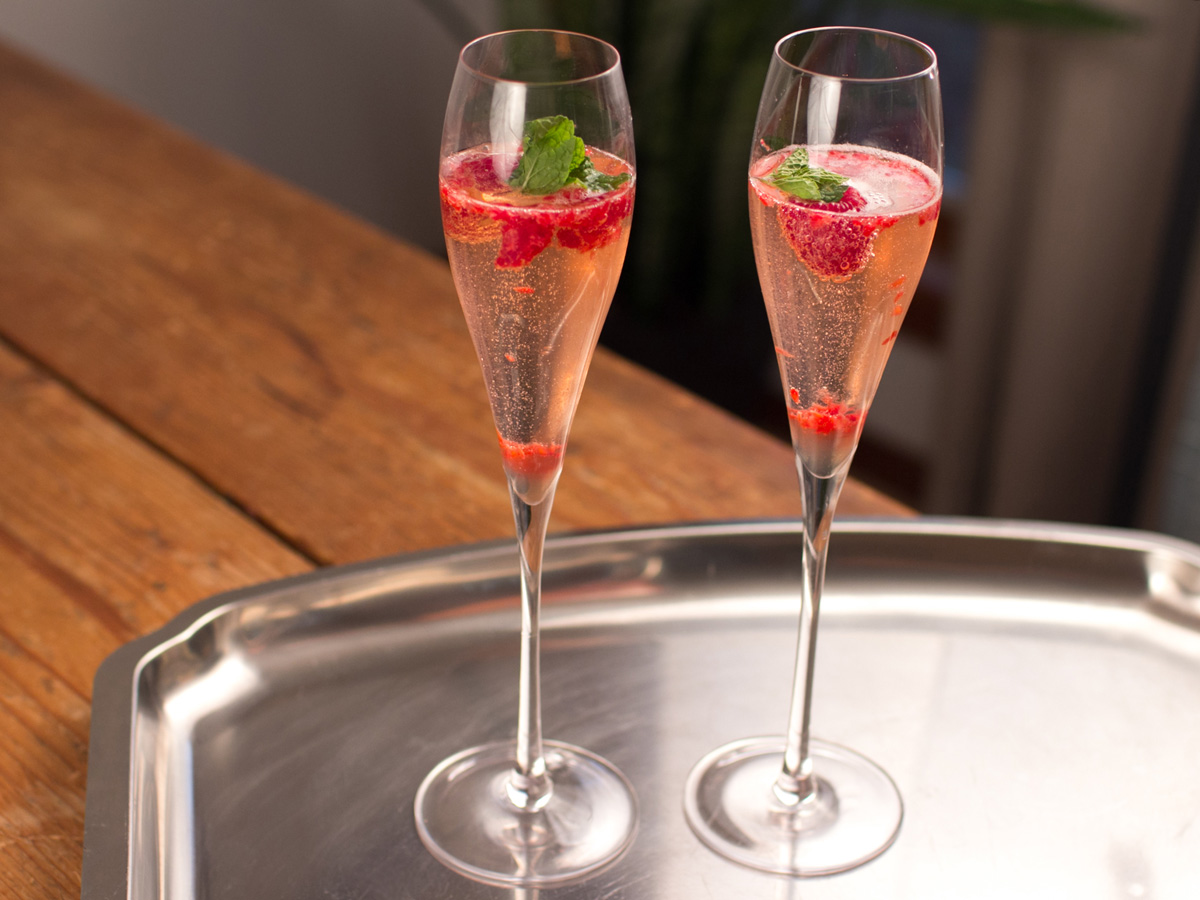 Holiday themed Raspberry Champagne Cocktail Recipe