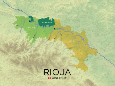 Rioja wine region of Spain map by Wine Folly