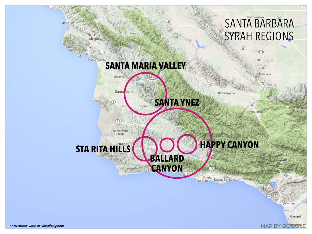 Santa Barbara Wine Region Map for Syrah