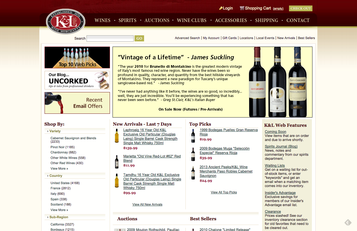 klwines.com wine buying online review