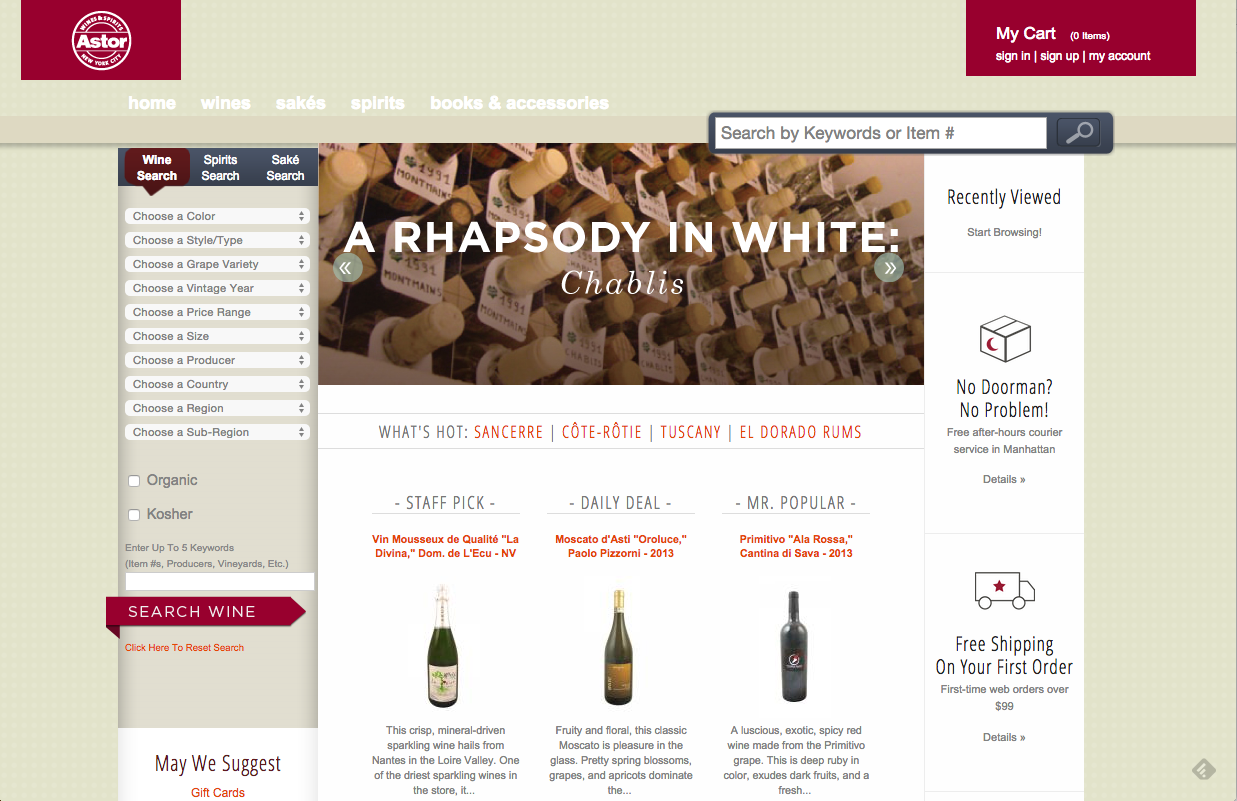 astorwines.com in NYC buying wine online