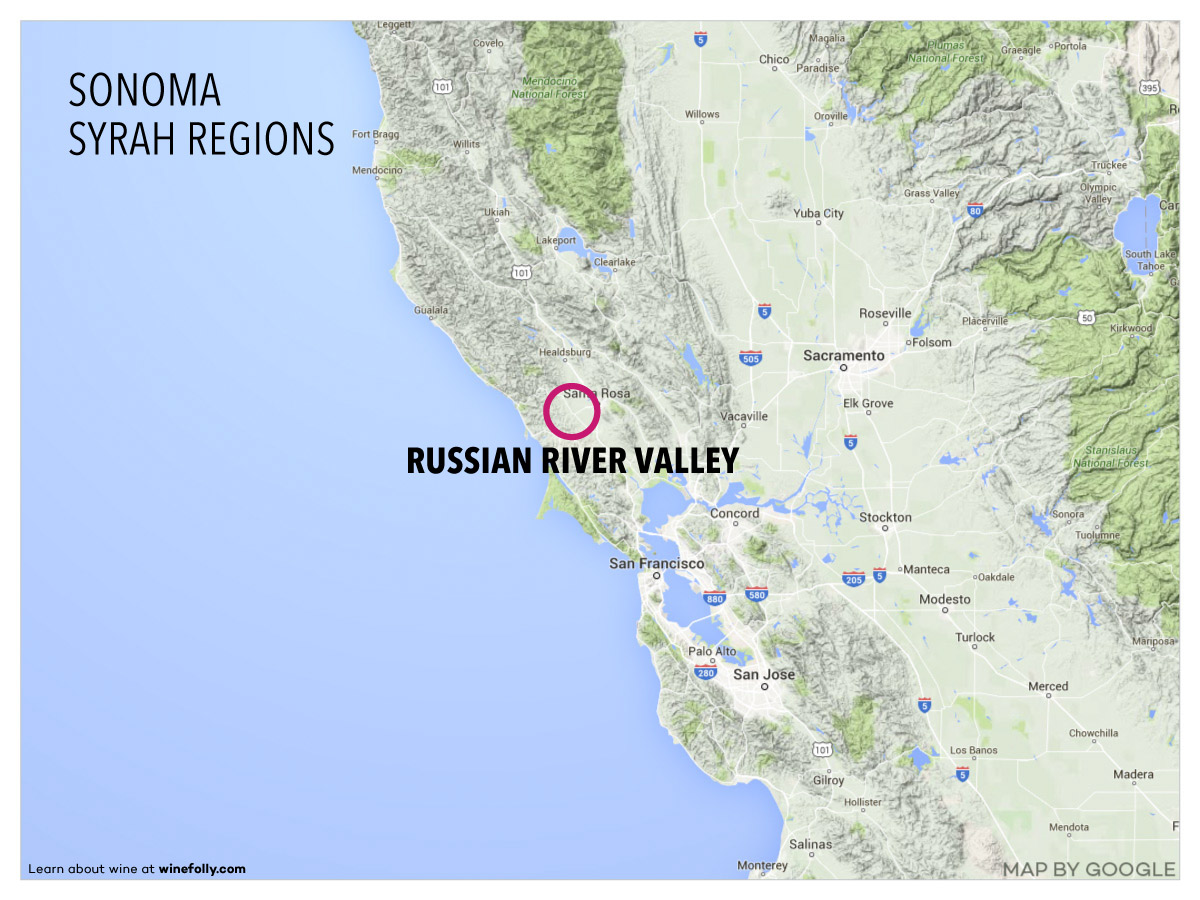 Sonoma Russian River Valley Wine Map Location
