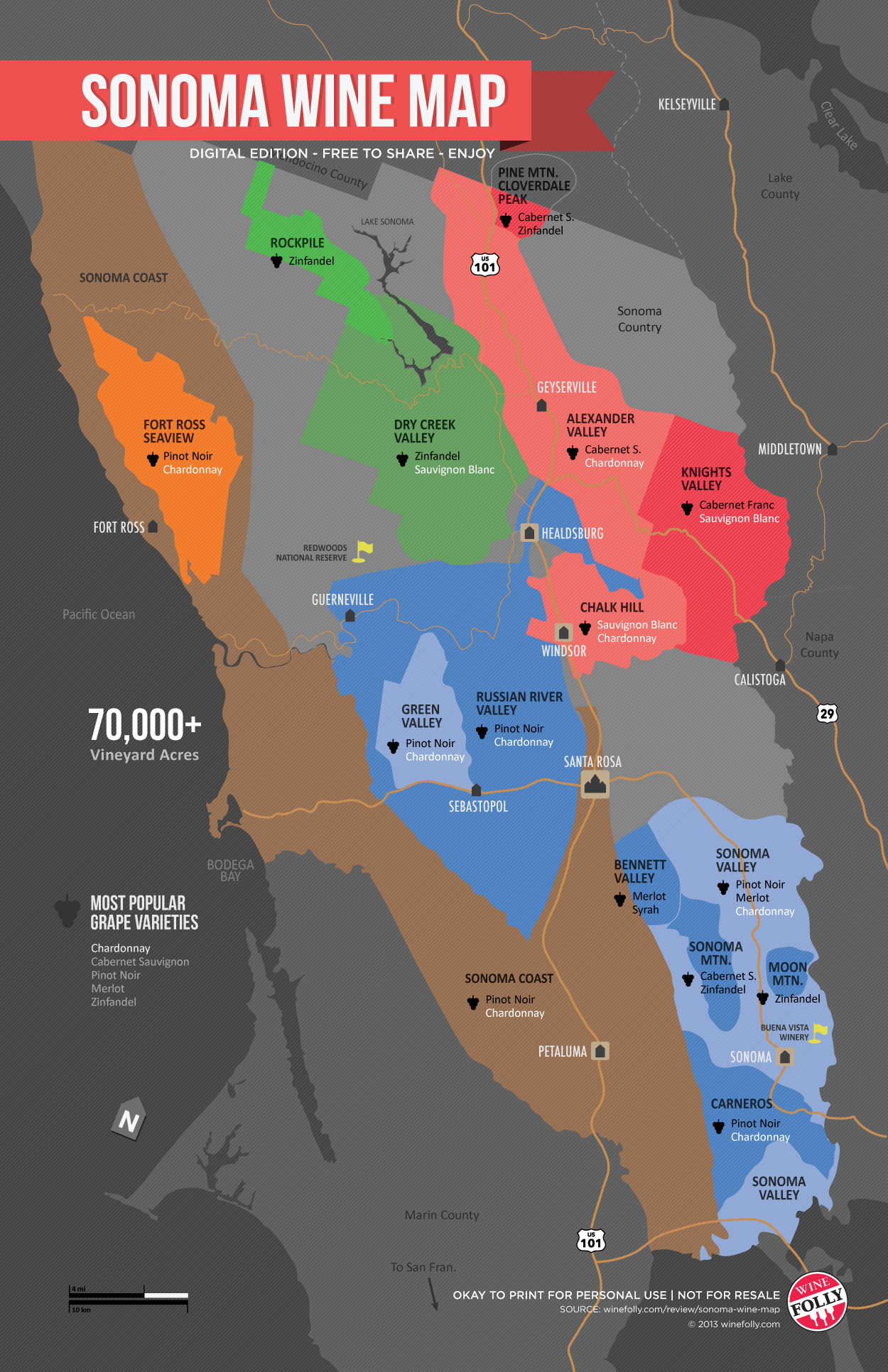 Sonoma Wine Map Poster Wine Folly