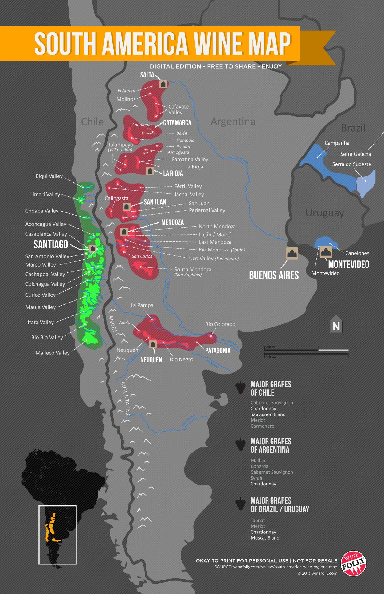 South America Wine Regions Map | Wine Folly on