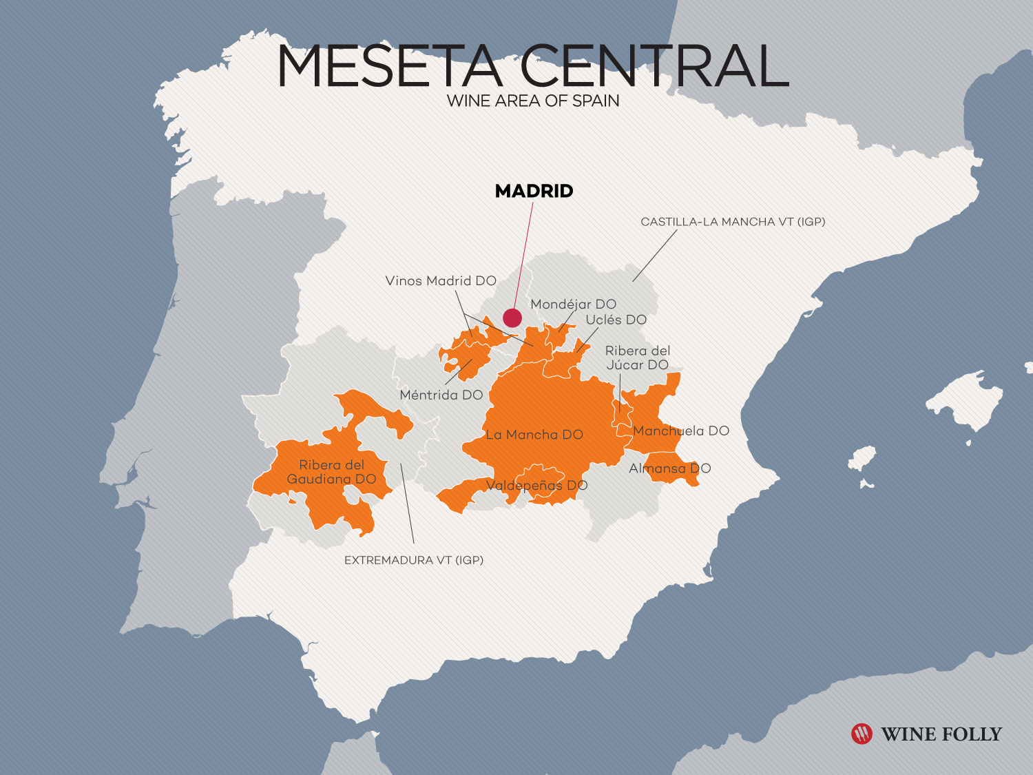 Spain Castilla-La Mancha Central Plateau Region Map by Wine Folly