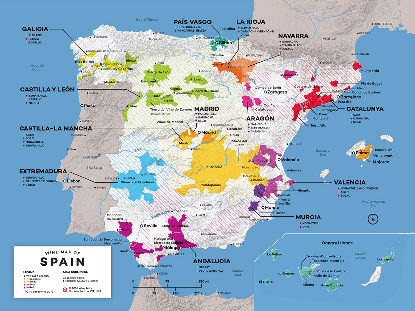 Andalucia On Map Of Spain.Map Of Spain Wine Regions Wine Folly
