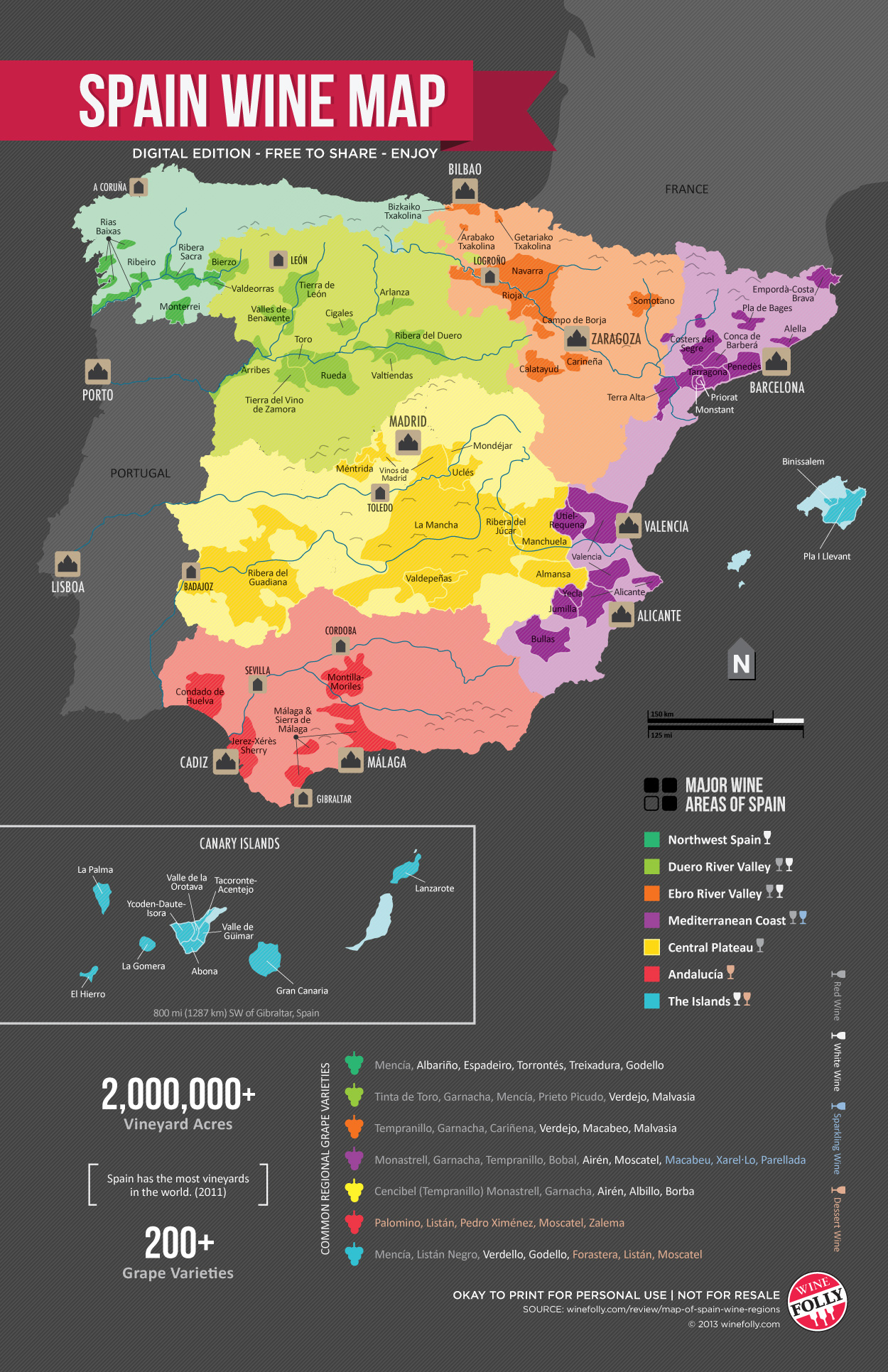 Spain Wine Regions Map by Wine Folly