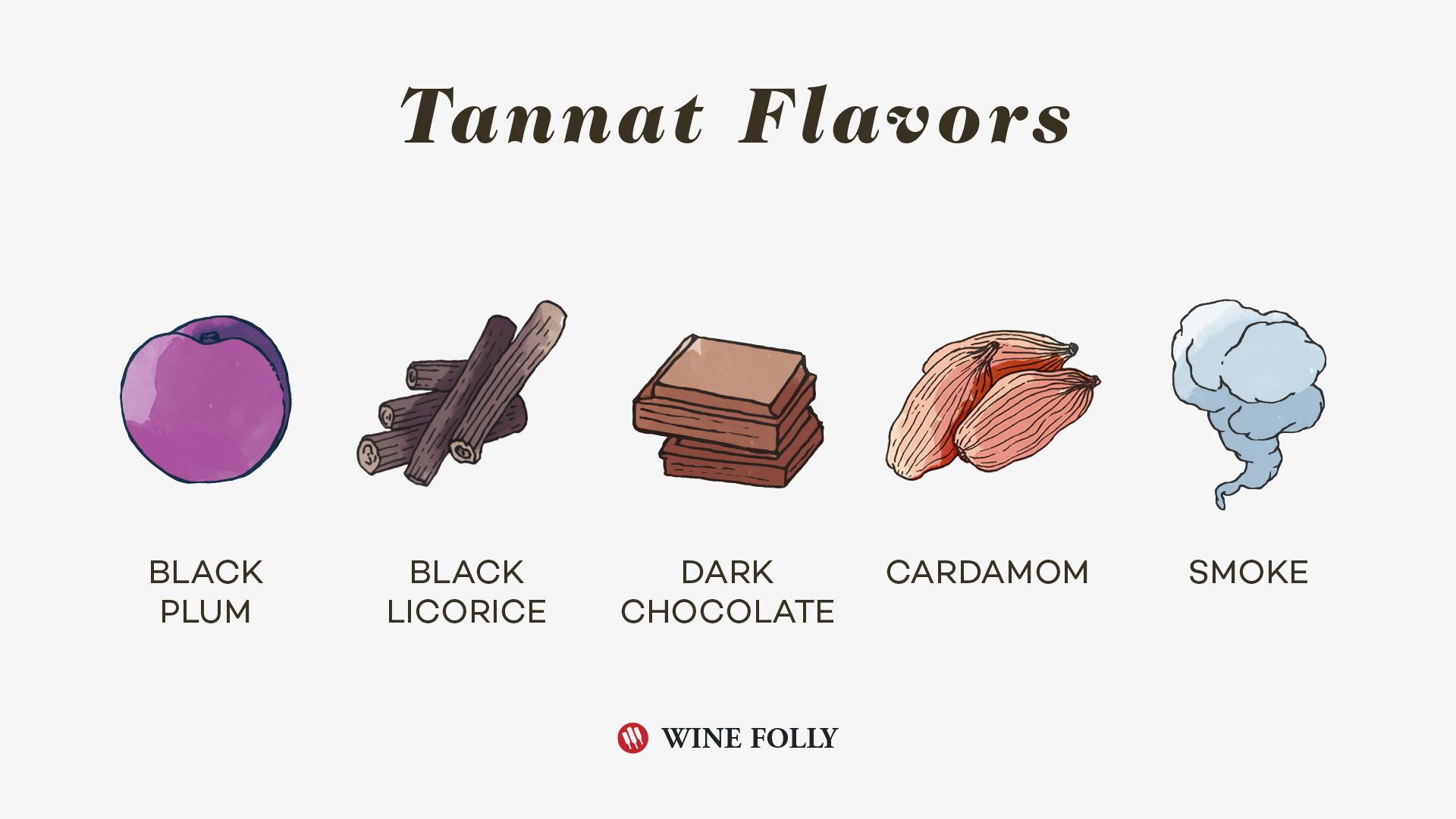 Tannat Tasting notes and flavors illustration by Wine Folly