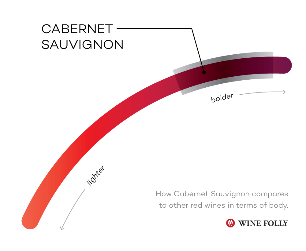 Taste Profile of Cabernet Sauvignon compared to other red wines - Infographic by Wine Folly