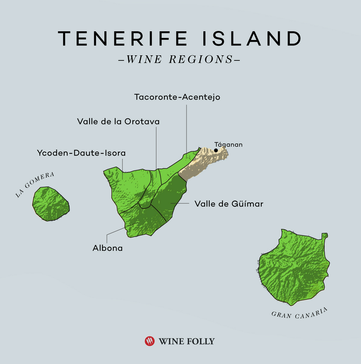 Tenerife Wine Regions Map with Taganan by Wine Folly