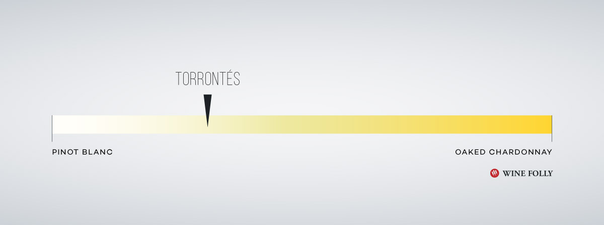 Torrontes Body Profile compared to other white wines