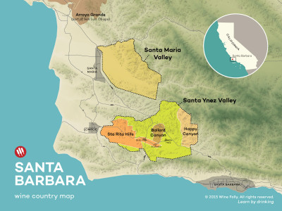 Santa Barbara wine country map by Wine Folly