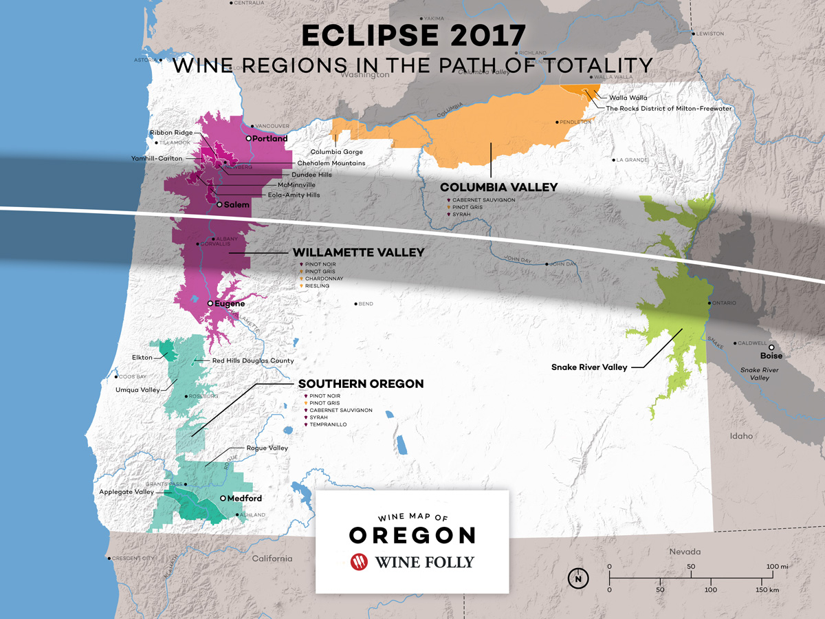 USA Oregon Eclipse Path Map Wine Regions by Wine Folly