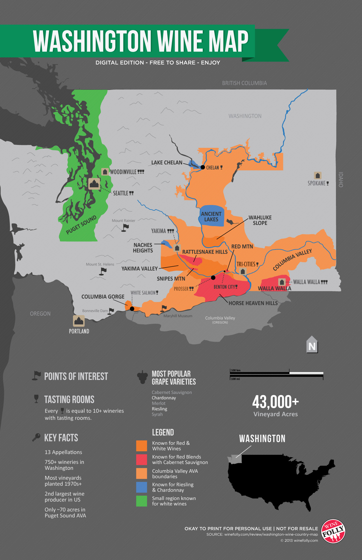 Picture of: Get To Know Washington Wine Country Map Wine Folly