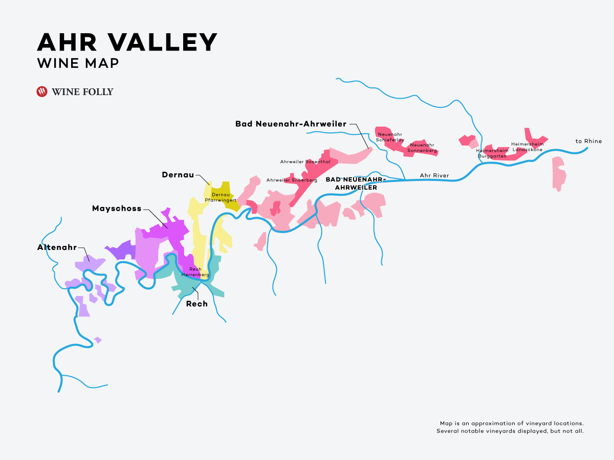Wine Map of The Ahr Valley in Germany - Wine Folly.