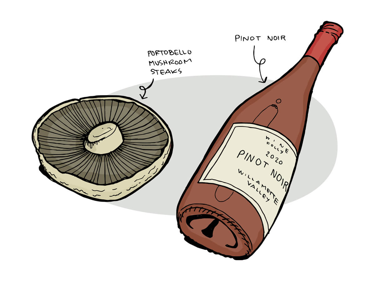 Wine pairing of portobello mushroom and pinot noir.