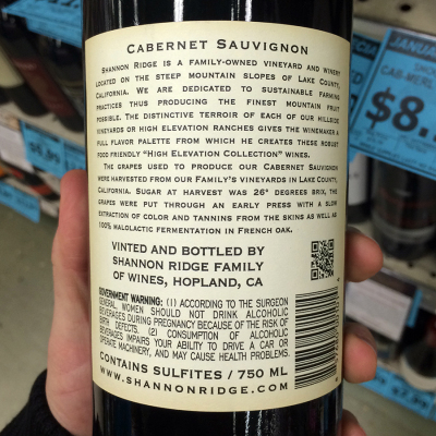 a-good-back-label wine clear lake cabernet shannon ridge
