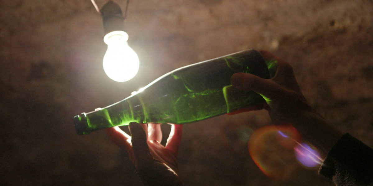 A bottle held up to the light in A Year in Champagne wine movie.