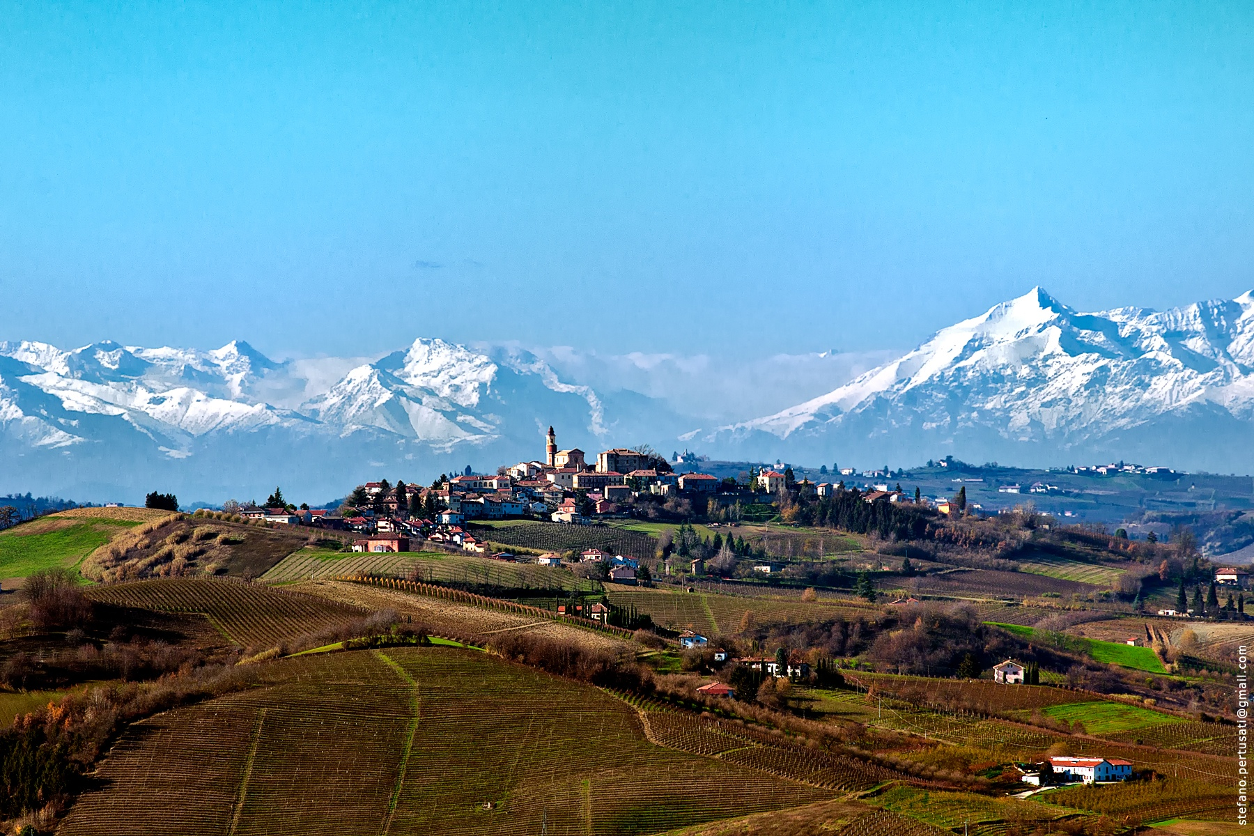Monferrato with the Alps in the Distance in the Piedmont wine region