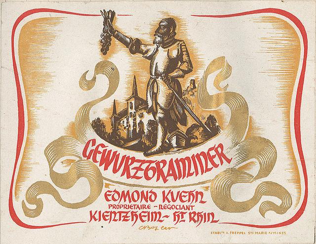 Alsace Gewurztraminer Vintage Wine Label