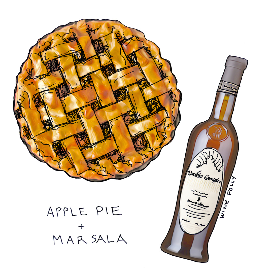 Apple pie and Wine Pairing with Sicilian Dessert Wine illustration by Wine Folly