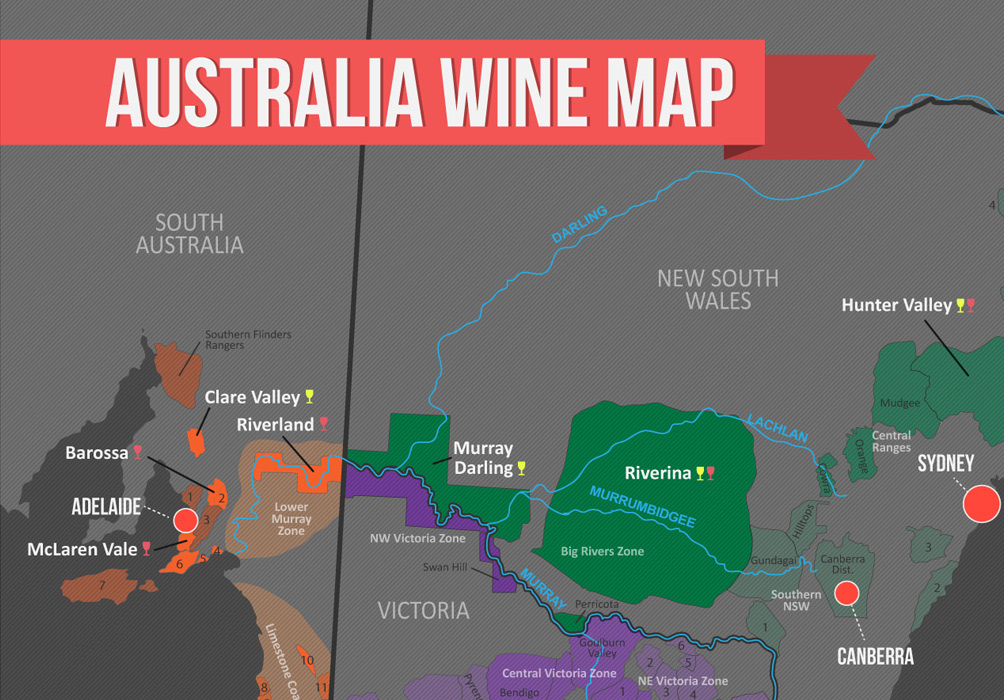 Australia's Wine Region (Map) | Wine Folly on victoria state australia map, great artesian basin australia map, tasman sea australia map, kimberley australia map, deserts in australia map, barkly tableland australia map, western plateau australia map, lakes in australia map, melbourne australia on map, swan valley australia map, aboriginal australia map, gibson desert australia map, kalgoorlie australia map, tasmania australia map, tanami desert australia map, murray river australia map, australia landforms map, albany australia map, canberra australia map, south west australia map,