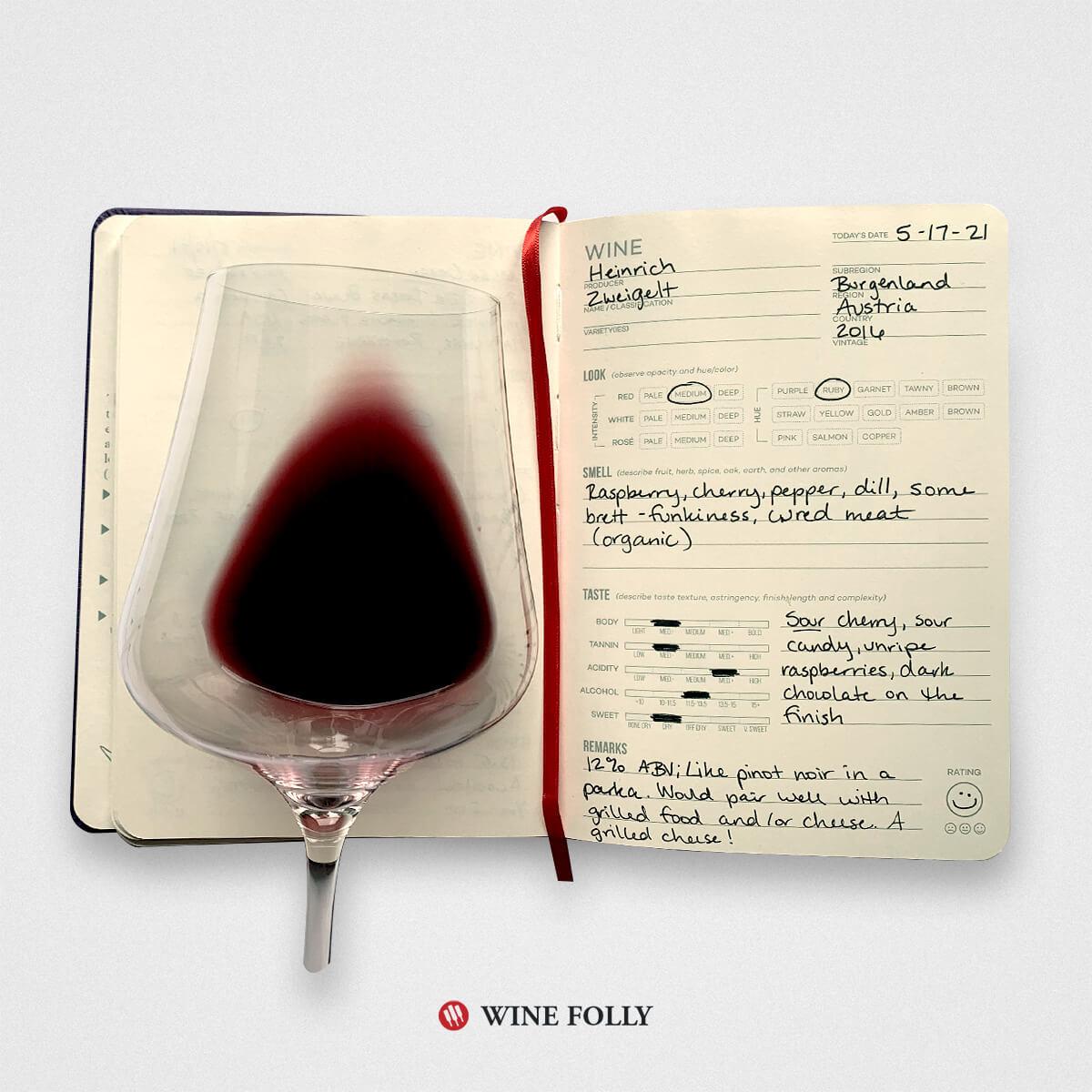 Wine tasting journal notes on Zweigelt