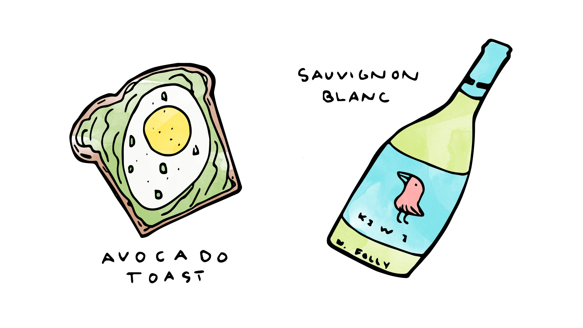 Avocado Toast wine pairing with Sauvignon Blanc illustration by Wine Folly