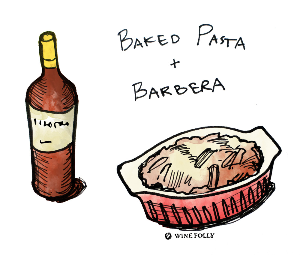 Baked Pasta and Barbera Wine Pairing Illustration by Wine Folly
