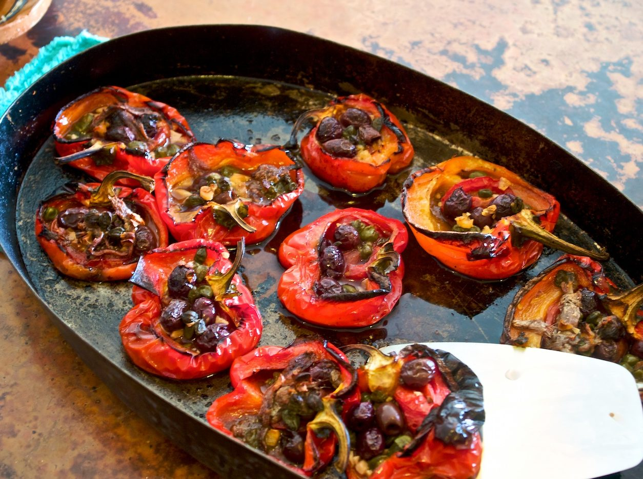 Baked stuffed red pepper with capers and olives. By Waywuwei