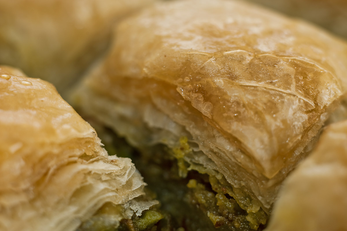 A close up of Baklava.