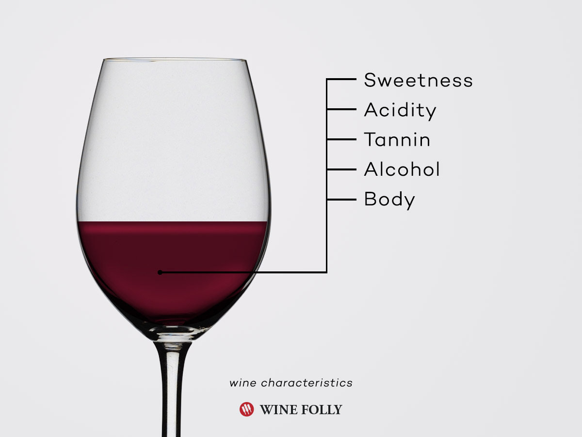 Basic characteristics - traits of wine by Wine Folly