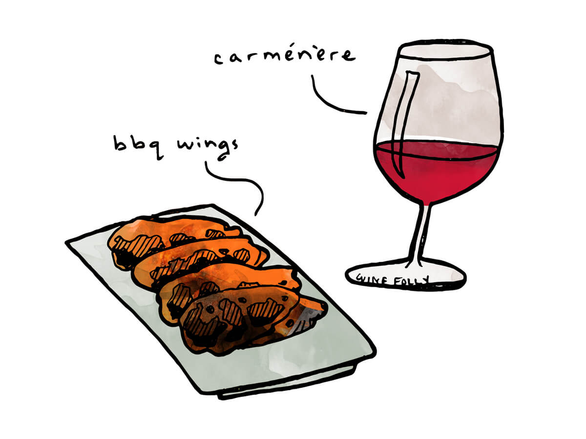 BBQ wings with Carmenere or Cabernet Franc wine - illustration by Wine Folly