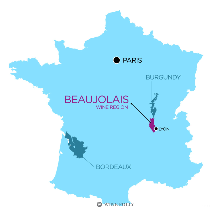 Beaujolais France wine map by Wine Folly